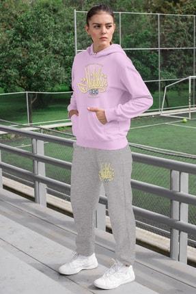 Angemiel Wear Malibu Kadın Eşofman Takımı Pembe Kapşonlu Sweatshirt Gri Eşofman Altı 0