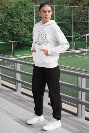 Angemiel Wear Geometrik Şekiller Kadın Eşofman Takımı Beyaz Kapşonlu Sweatshirt Siyah Eşofman Altı 0