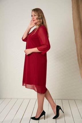 Rmg Yaka Taş Detaylı Büyük Beden Bordo Elbise 1