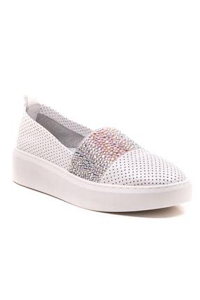 GRADA Beyaz Deri Taşlı Delik Baskılı Kadın Ayakkabı 2
