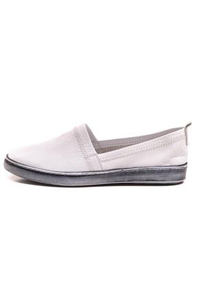 GRADA Beyaz Sade Düz Hakiki Deri Kadın Ayakkabı 1