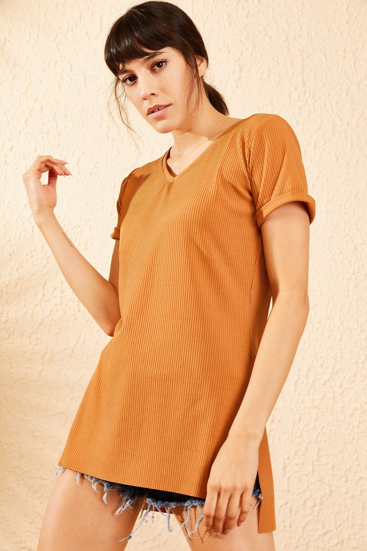 Bianco Lucci Kadın Taba Kol Yan Yırtmaçlı Kol Detay Kaşkorse T-Shirt 10051012 3