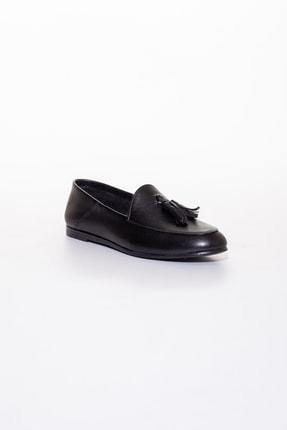 Rome Slippers Hakiki Deri Siyah Kadın Sandalet Rt-802 2