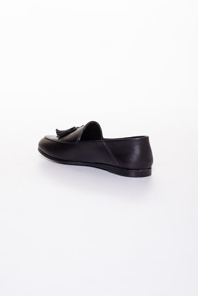 Rome Slippers Hakiki Deri Siyah Kadın Sandalet Rt-802 3