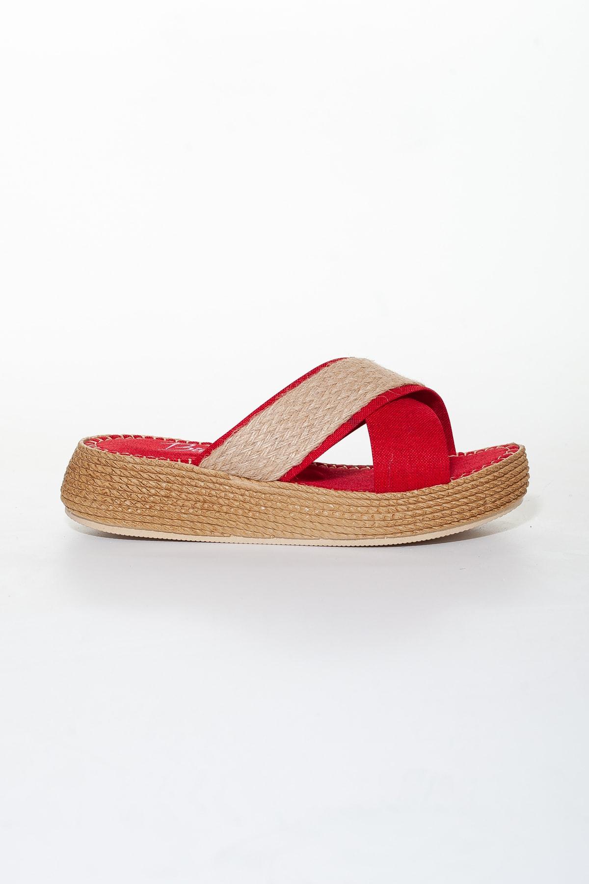 Moda Değirmeni Hasır-kırmızı Kadın Terlik Md1030-122-0003