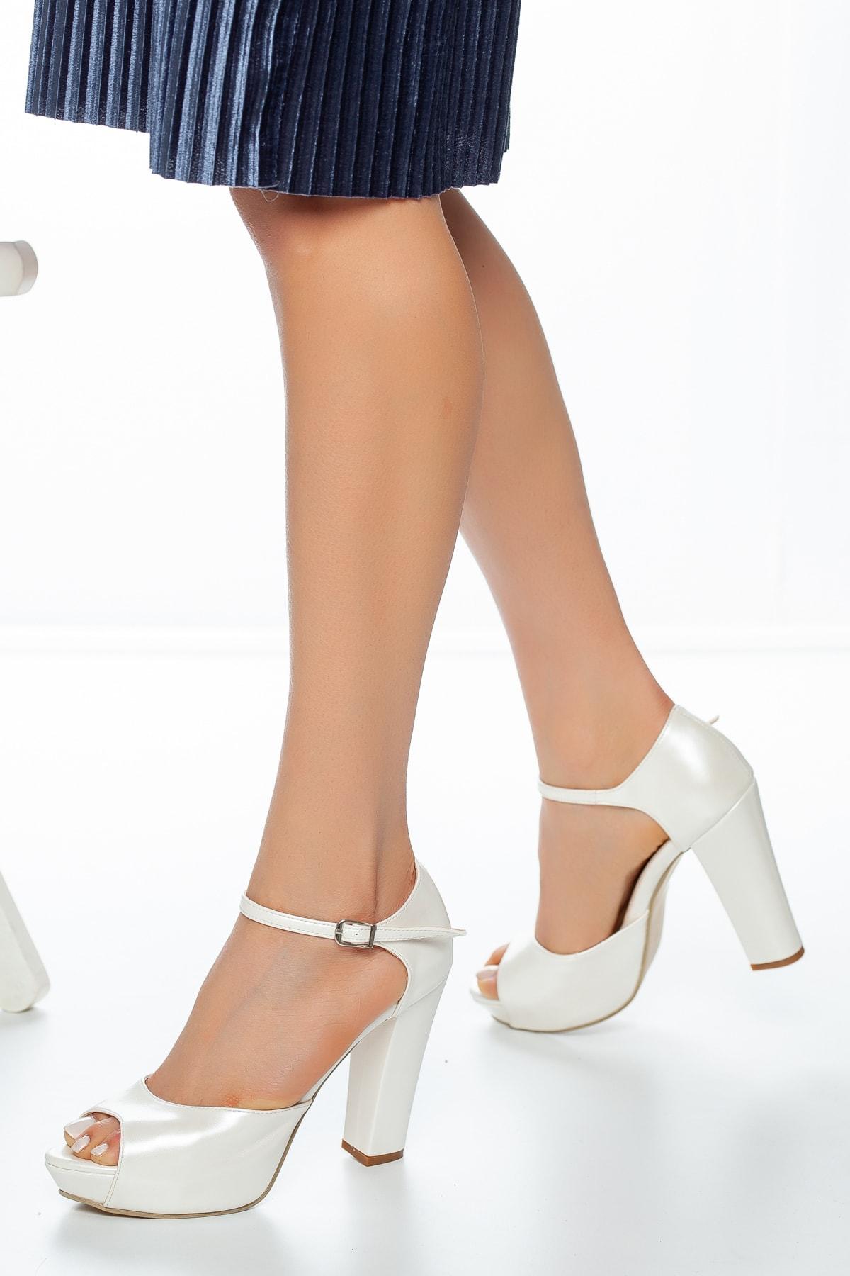 Hayat ayakkabı Sedef Cilt Kadın Topuklu Abiye Gelinlik Ayakkabı