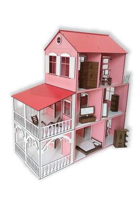 ALFAGAMA Ahşap Barbie Oyun Evi 48 Parça Eşyalı Set 80 Cm 0