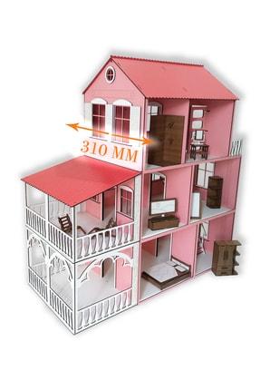 ALFAGAMA Ahşap Barbie Oyun Evi 48 Parça Eşyalı Set 80 Cm 2