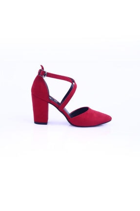 Dgn Kırmızı Süet Kadın Topuklu Ayakkabı 1101-1563 1