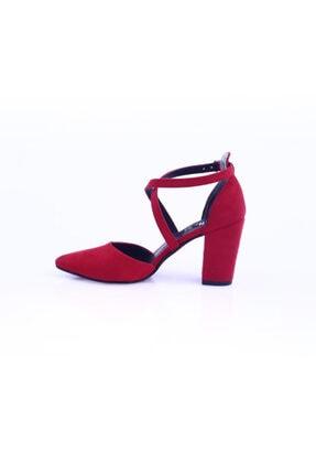 Dgn Kırmızı Süet Kadın Topuklu Ayakkabı 1101-1563 2