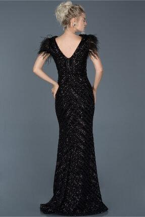 Abiyefon Siyah Uzun Pul Işlemeli Otrişli Abiye Elbise Abu881 1