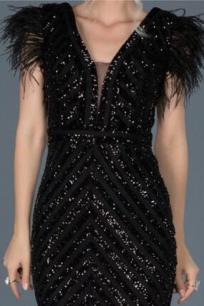 Abiyefon Siyah Uzun Pul Işlemeli Otrişli Abiye Elbise Abu881 2