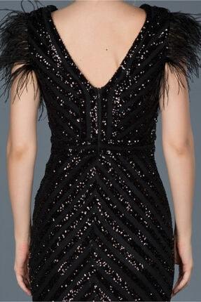 Abiyefon Siyah Uzun Pul Işlemeli Otrişli Abiye Elbise Abu881 3
