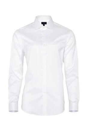 Germirli Non Iron Beyaz Twill Klasik Yaka Tailor Fit Gömlek 0