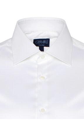Germirli Non Iron Beyaz Twill Klasik Yaka Tailor Fit Gömlek 1
