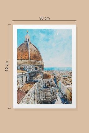 Life & Art 2'li Istanbul Galata Kulesi & Italya Floransa Suluboya Tablo Seti - 30x40 Cm - Çerçevesiz 2