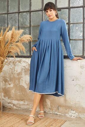 Mispacoz Uzun Kol Ayrobin Elbise Indigo 1