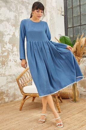 Mispacoz Uzun Kol Ayrobin Elbise Indigo 3