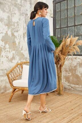 Mispacoz Uzun Kol Ayrobin Elbise Indigo 4