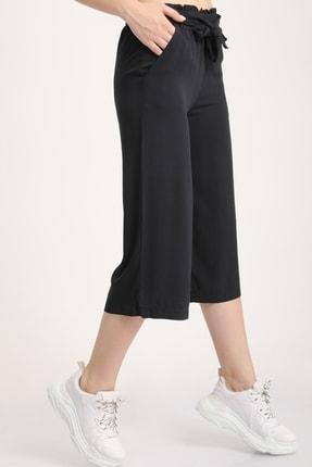 MD trend Kadın Siyah Bel Lastikli Bağlamalı Kısa Pantolon Mdt5979 2