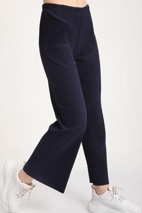 MD trend Kadın Lacivert Piliseli Bel Lastikli Salaş Pantolon Mdt5792 1