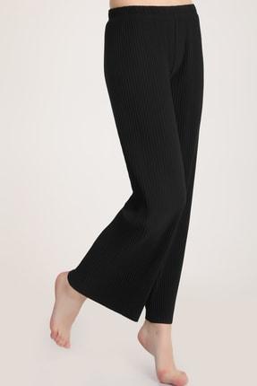 MD trend Kadın Siyah Piliseli Bel Lastikli Salaş Pantolon Mdt5792 2