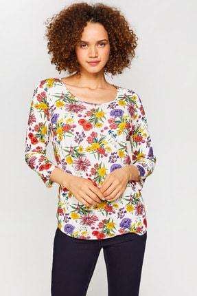 Kadın Ekru Desenli T-Shirt 60616 U60616 resmi