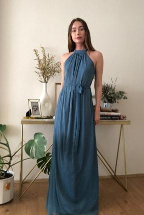 TRENDYOLMİLLA Mavi Işıltılı Kuşak Detaylı Abiye & Mezuniyet Elbisesi TPRSS20AE0079 1
