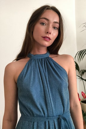 TRENDYOLMİLLA Mavi Işıltılı Kuşak Detaylı Abiye & Mezuniyet Elbisesi TPRSS20AE0079 3