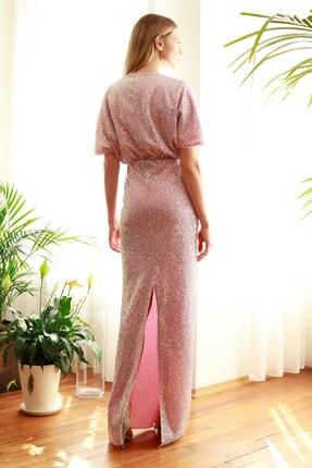 TRENDYOLMİLLA Pudra Payetli Abiye & Mezuniyet Elbisesi TPRSS20AE0109 4