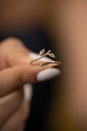 İzla Design Sarmaşık Model Mineli Rose Kaplama Gümüş İtalyan Yüzük 3