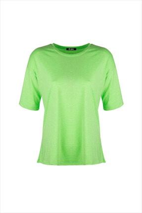 AYYILDIZ Kadın Fosforlu Yeşil Oversıze Tunik 59519 0