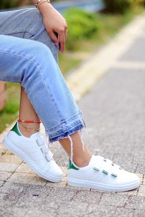 Pembe Potin Kadın Beyaz Yeşil Ayakkabı 1