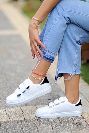 Pembe Potin Kadın Beyaz Siyah Ayakkabı 0