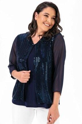 By Saygı Kolu Şifon Pulpayet Bluz Ceket Büyük Beden Takım Lacivert 1