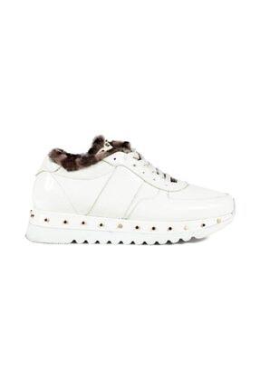 Sofia Baldi Anaya Fur Beyaz Rugan Pimli Kadın Spor Ayakkabı 0