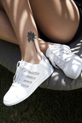 Du Jour Paris Beyaz Gümüş Kadın Spor Ayakkabı 4000-19-101001 3