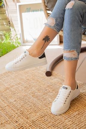 Ayakkabı Modası Beyaz Siyah Kadın Ayakkabı M4000-19-110003R 2