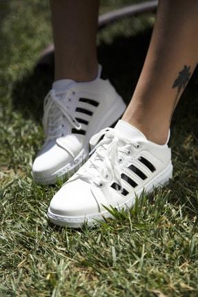 Ayakkabı Modası Beyaz-Siyah Kadın Sneaker 4000-19-101002 0