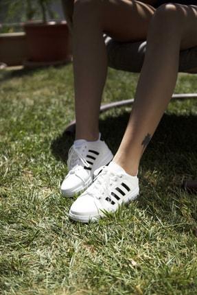 Ayakkabı Modası Beyaz-Siyah Kadın Sneaker 4000-19-101002 1