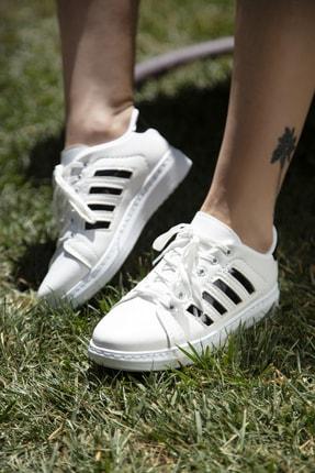 Ayakkabı Modası Beyaz-Siyah Kadın Sneaker 4000-19-101002 3