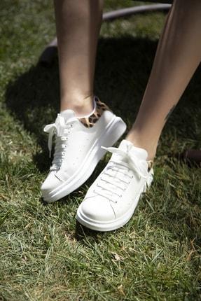 Ayakkabı Modası Beyaz-Leopar Kadın Casual Ayakkabı 5007-20-110001 0