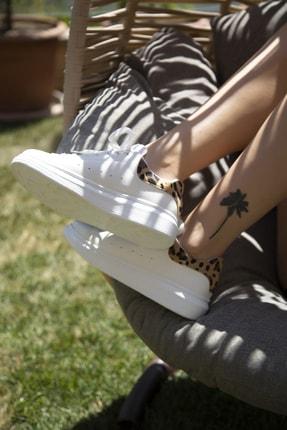 Ayakkabı Modası Beyaz-Leopar Kadın Casual Ayakkabı 5007-20-110001 3