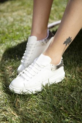 Ayakkabı Modası Beyaz-Yılan Kadın Casual Ayakkabı 5007-20-110001 3