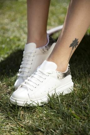 Ayakkabı Modası Beyaz-Yılan Kadın Casual Ayakkabı 5007-20-110001 4