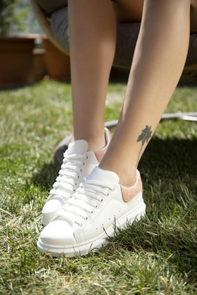 Ayakkabı Modası Beyaz-Pudra Kadın Casual Ayakkabı 5007-20-110001 2