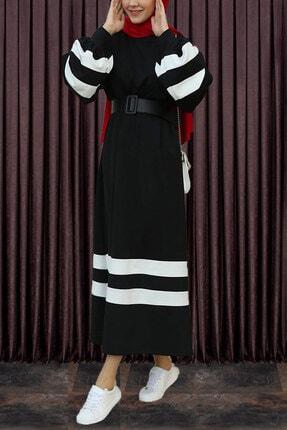 modaroyal Tesettür Elbise Balon Kol Şeritli Siyah 0