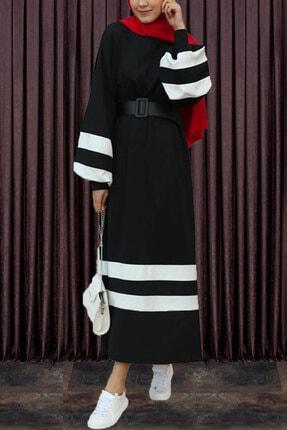 modaroyal Tesettür Elbise Balon Kol Şeritli Siyah 2