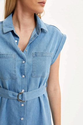 Defacto Kadın Mavi Kemer Detaylı Slim Fit Jean Elbise R0364AZ.20SM.NM63 2
