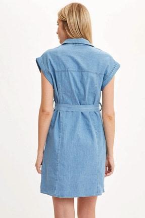 Defacto Kadın Mavi Kemer Detaylı Slim Fit Jean Elbise R0364AZ.20SM.NM63 3